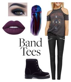 """""""Band tees outfit #1"""" by caseyanne18 on Polyvore featuring Free People, Alexander McQueen, Manic Panic NYC, Too Faced Cosmetics and Lime Crime"""