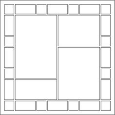 Page Pattern Description: This pattern has a border all around the page. The border is made up of 1 in. squares and 2.125w x 1h blocks. In the center of this page, starting from the top left (going clockwise) is a 4.375w x 6.625h block, a 4.375w x 3.25h block, a 4.375w x 5.5h block, and last is a 4.375w x 2.125h block.