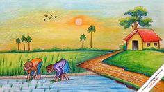 I use CROWN Oil Pastel. Scenery Paintings, Oil Pastel Paintings, Oil Pastel Drawings, Indian Art Paintings, Scenery Drawing For Kids, Art Drawings For Kids, Easy Drawings, Village Scene Drawing, Art Village