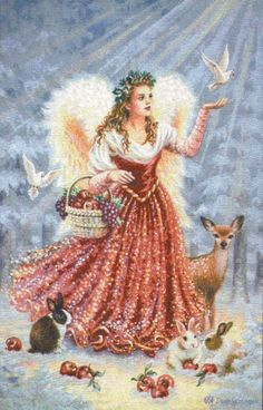 Christmas angel with forest creatures