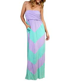 Lilac & Aqua Chevron Strapless Maxi Dress