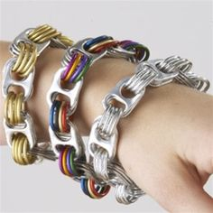 Fun Bracelets made from soda can pop tops