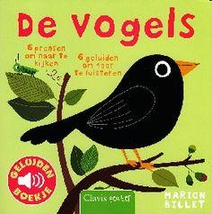 De vogels. In het boekje over de vogels zien en horen we de koekoek, de nachtegaal, de merel, de duif, de mees en de ekster.