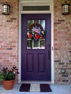 Garage Door Colors With Red Brick Entry Ways Super Ideas Garage Door Colors, Door Paint Colors, Front Door Colors, Front Door Decor, Garage Doors, Purple Front Doors, Purple Door, Painted Front Doors, Red Doors
