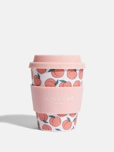 Peachy Bamboo Travel Mug Covered in our favourite go-to print, do your bit for the environment and lower your plastic consumption with our pretty Peachy Travel Mug! Material: Bamboo Fibre Holds Reusable Dishwasher safe Do not microwave