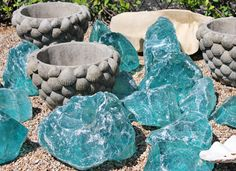 "Slag glass from Austin (Texas, dur) landscape design company/nursery/boutique ""Big Red Sun"". They call it ""French Kryptonite"". insert your own joke here. Landscaping Austin, Landscaping With Rocks, Garden Deco, Garden Pool, Austin Texas, Glass Rocks, Red Sun, Turquoise Glass, Beautiful Dream"