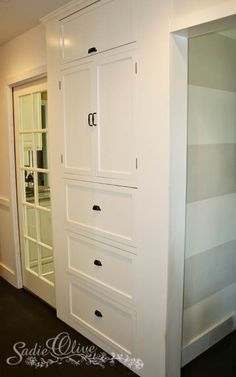 Hallway storage idea..Brian needs to do this for me in the hallway...