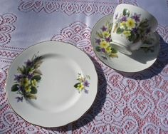 For Rent up to seven guests: Duchess Bone China primrose and violet pattern.  Cup saucer and tea/side/bread plate.