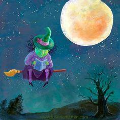 A las brujas les encantan los libros, especialmente los de Merlín (ilustración de Luanne Matren)