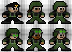 Space: Above and Beyond - Squad Combat Gear Perler Bead Design Combat Gear, 8 Bit, Perler Beads, Pixel Art, Squad, Cross Stitch, Space, Pattern, Fictional Characters