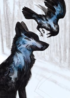 Wolf und Rabe Zeichnung - New Ideas Anime Wolf, Raven And Wolf, Raven Bird, Art Manga, Animal Paintings, Fantasy Creatures, Painting & Drawing, Wolf Painting, Drawing Drawing