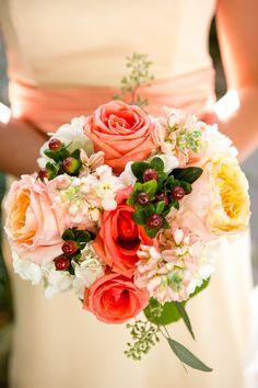 Garden Wedding Venue | Fall Buttery Peach Bridesmaid Bouquet - Photo: Dove Wedding Photography