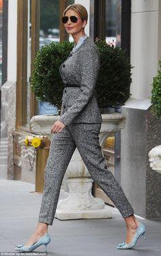 Ivanka Trump wearing Escada Basco Jacket, Escada Talarant Wool Pants and Dolce & Gabbana Taormina Lace Belluci Pumps