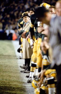 Vince Lombardi surveys the field during a 1967 game. He compiled an 89-29-4 regular-season record with the Green Bay Packers.