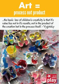 """Article, """"Art = Process Not Product"""" (from Let the Children Play)"""