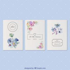 Cartões românticos com flores da aguarela Vetor grátis