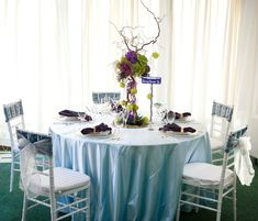 Mardi Gras wedding reception table