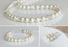 Wedding Jewelry Set Swarovski Pearl Bridal by MiaLuciaBridal