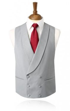Dove Grey Double Breasted Shawl Lapel Morning Suit Waistcoat
