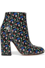 Cora printed glossed snake-effect leather ankle boots