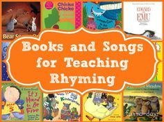 Great resource for rhyming activities--this site lists rhyming books and songs. Other links to how to teach rhyming and specific rhyming activities! Preschool Music, Preschool Books, Kindergarten Literacy, Early Literacy, Education And Literacy, Kids Education, Rhyming Activities, Book Activities, Teaching Reading