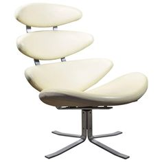 Poul Volther EJ 5 Corona Chair by Erik Jorgensen in White Leather | From a unique collection of antique and modern lounge chairs at https://www.1stdibs.com/furniture/seating/lounge-chairs/