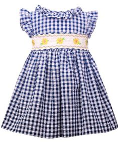 A perfect smocked baby dress for any occasion! The fancy design of this fashionable baby clothes is elegant enough for a family dinner out, yet comfy enough for a day at the mall or school.  A flattering design that provides an elegant appearance for her to feel her greatest. A great girls kids outfit with simple style that allows for comfort and ease of mobility for all any activity you have planned.  Classic style that can be worn for many social occasions through many years! Girls Easter Dresses, Girls Dresses, Smocked Baby Dresses, Seersucker Dress, Bonnie Jean, Kids Outfits Girls, Girls Jeans, Spring Dresses, Smocking