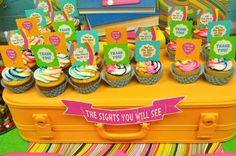 "Cupcakes at a Dr. Seuss ""Oh, the Places You'll Go!"" Party #drseuss #partycupcakes"