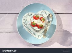 Fresh Strawberries With Fruit Yoghurt And Whipped Cream On Light Pink Wooden Table Stock Photo 437741593 : Shutterstock