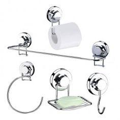 Conjunto para Banheiro 5 peças com Ventosa de Alta Sucção - Praticitá - 5 Anos de Garantia