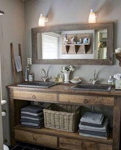 Rustic Vanity Bathroom Farmhouse Style_35