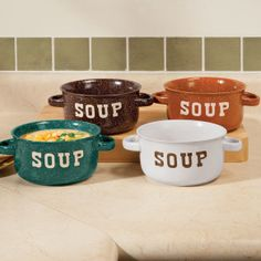 4 Rustic Soup Bowls With Handles ----