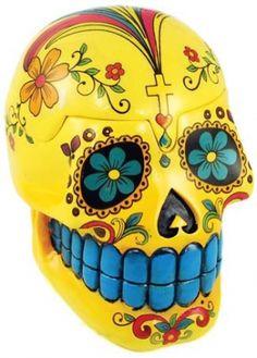 "Yellow Day of the Dead Skull box. Sculpted of cold cast resin, this Day of the Dead Skull Box is a beautiful imitation of the Calavera skulls created during the celebration of the Day of the Dead (Dia De los Muertos). 4"" x 4"" x 5"""