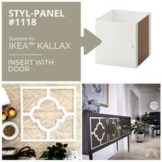A series of Styl-Panels designed to turn the humble IKEA Kallax into a hero piece. Perfect for IKEA hacks and more. Furniture Overlays, Business Furniture, Decor, Ikea, Rustic Style Furniture, Furniture Makeover, Kallax Ikea, Flat Pack Furniture, Furniture Design