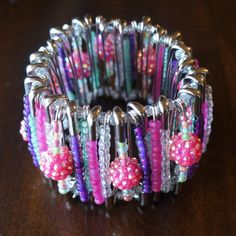 Hey, I found this really awesome Etsy listing at https://www.etsy.com/listing/243179958/cotton-candy-safety-pin-bracelet