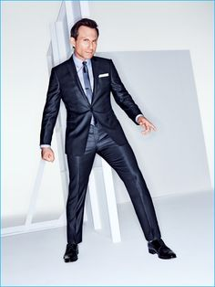 Christian Slater pictured in a sharp Emporio Armani suit for GQ.