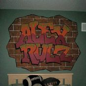 Really cool graffiti-style mural for Alex's bedroom! Because Alex Rulz! If you're in the Atlanta area, get in touch with Pam to produce this work of art on your kid's wall Graffiti Styles, Atlanta, Bedrooms, Touch, Cool Stuff, Creative, Wall, Artwork, Fun
