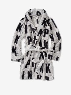 e7a7e1c871 Victoria s Secret PINK Cozy Plush Robe Gray Grey Black Logo XS S Short NWT  NIP