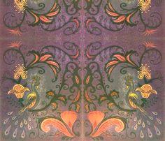 marzlene_golden_peacock_2  fabric by marzlene'z_eye_candy on Spoonflower - custom fabric