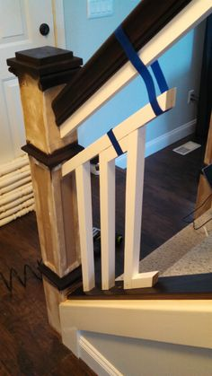 The Staircase Situation: Craftsman-Style Balusters & Reveal – Planting Sequoias Dark Timber Flooring, Stair Paneling, Diy Stair Railing, Craftsman Furniture, Home Upgrades, Craftsman Style, Stairways, Interior Design Living Room, Basement Stairs