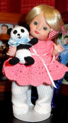 "Same doll another angle view of Effanbee Patsy Babyette 9"" tall doll with handmade 2 1/2"" crocheted panda (available on order-by Rachel)"