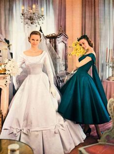 1956 Ad Vintage Wedding Gown Bride Bridesmaid Taffeta Dress Bridal Veil Fashion