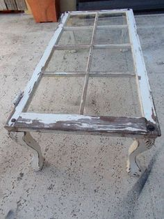 Vintage Window Coffee Table on Etsy. I could craft this.Lots of old windows at Junk Sisters to create this look