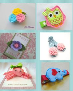 Sweet hair clips for babies and girls.  hairclips from the EtsyKids Team.  Owl, rosettes, octopus, elephant, rose, felt hair accessories.    Follow style-a-kid.blogspot.com for your daily dose of kid's style :)