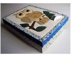 Caixa patchwork embutido coruja