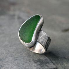 Hawaiian Sea Glass Ring Green Beach Glass Sterling by KiraFerrer
