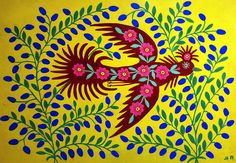Maria Pryimachenko, a renowned Ukrainian village folk art painter, representative of naïve art. Art And Illustration, Folklore, Spring Song, The Colour Of Spring, Ukrainian Art, Art Brut, Wow Art, Naive Art, Outsider Art