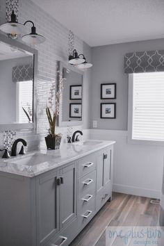 Looking for bathroom renovation ideas? Check out the design of this modern farmh… Looking for bathroom renovation ideas? Check out the design of this modern farmhouse main bathroom renovation reveal for some inspiration. Bathroom Renos, Bathroom Renovations, Bathroom Interior, Home Remodeling, Remodel Bathroom, Bathroom Makeovers, Grey Bathroom Vanity, Grey Bathroom Cabinets, Wood Tile Bathroom Floor