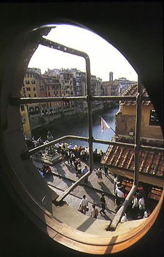 A glance to Ponte Vecchio and the Arno from the Vasari Corridor, Florence, Italy