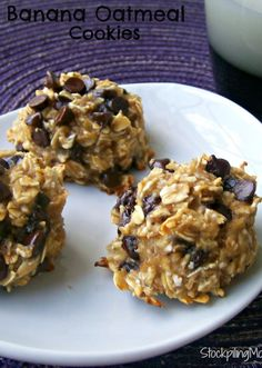 3 ingredient Banana Oatmeal Cookies are made without egg or oil! You will love this healthy cookie and so will your kids! This is a keeper!